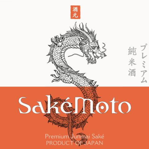 SakéMoto Premium Junmai Saké 750ml Front Label