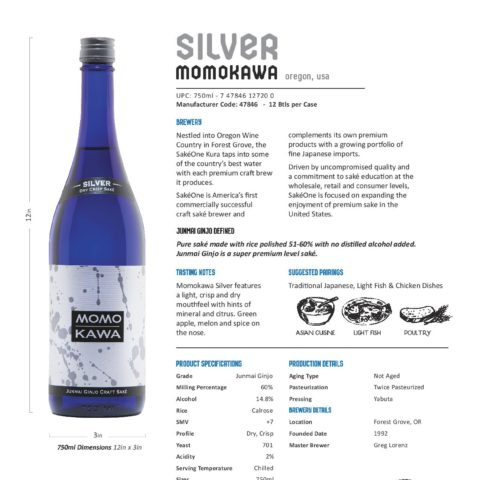 Momokawa Silver 750ml bottle Tech Sheet