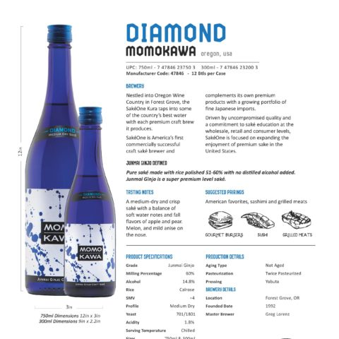 Momokawa Diamond 750ml and 300ml bottle Tech Sheet