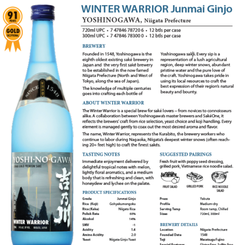 Yoshinogawa Winter Warrior Junmai Ginjo Tech Sheet