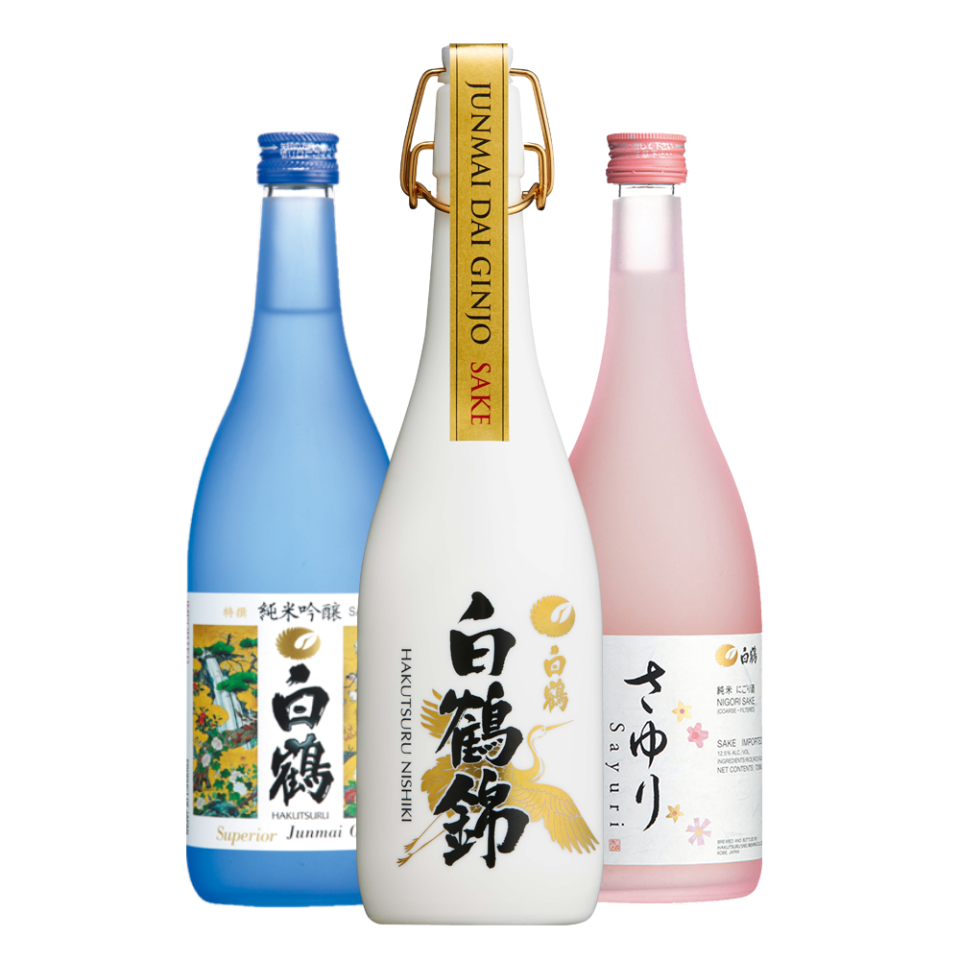trio of haktusuru bottles Superior Junmai Ginjo, Junmai Dai Ginjo and Sayuri