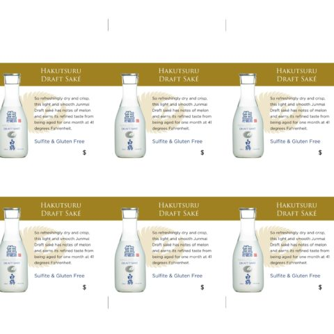 Hakutsuru Draft 300ml Shelf Talker 6 count layout
