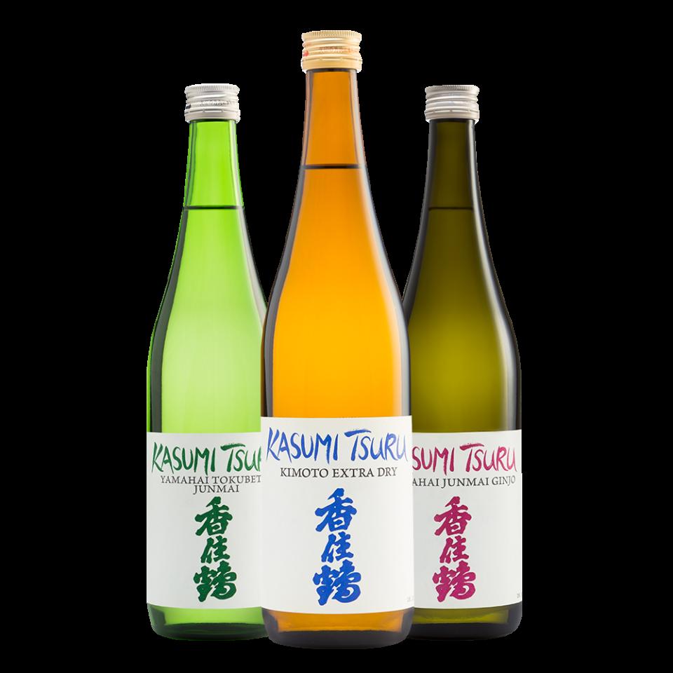 trio of Kasumi Tsuru bottles Yamahai Tokubet Junmai, Kimoto Extra Dry, and Junmai Ginjo