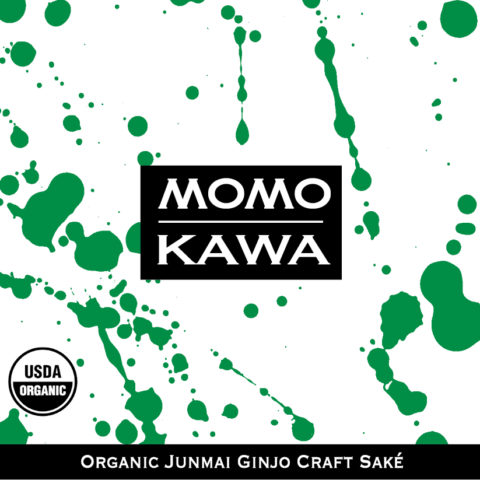 Momokawa Organic Junmai Label with green splatter pattern