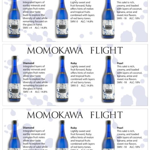 Momokawa Tasting Flight sheet with Diamond, Ruby and Pearl bottles and description