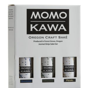Box set of Momokawa Diamond, Organic and Pearl saké