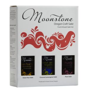Moonstone Oregon Craft Saké trio box set with Asian Pear, Coconut Lemongrass, and Plum Saké