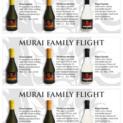 Murai Family Tasting Flight with 3 bottles and descriptions