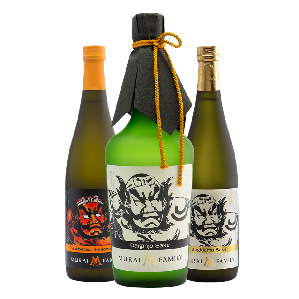 Trio of Murai Family bottles, Tokubetsu Honjozo, Daiginjo Saké, and Sugidama Saké