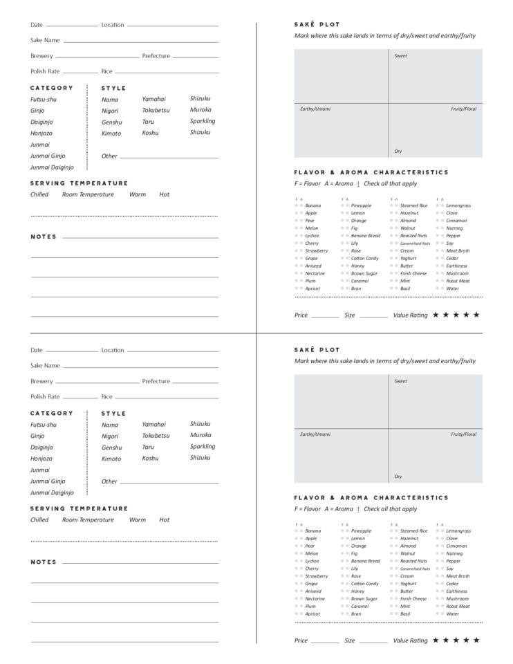 SakeOne01 Tasting sheet with 2 on a page