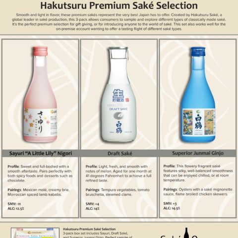 Hakutsuru Sample Sell Sheet with image of product and product information