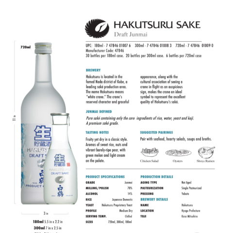 Hakutsuru Draft Tech Sheet for 180ml, 300ml, and 720ml bottles