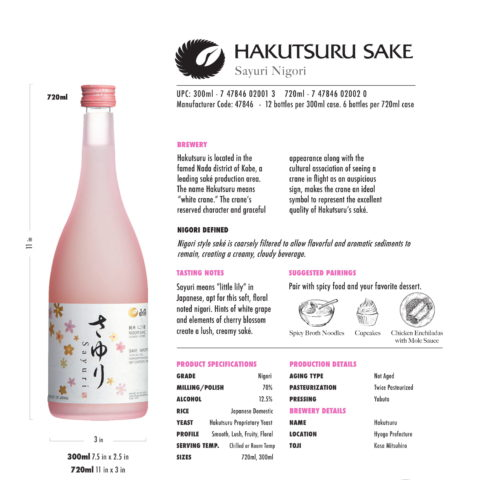 Hakutsuru Sayuri 300ml and 720ml bottle Tech Sheet