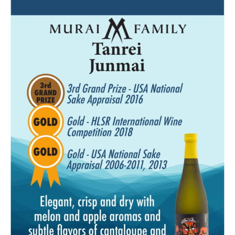 Murai Family Tanrei Junmai graphic with awards and flavor description