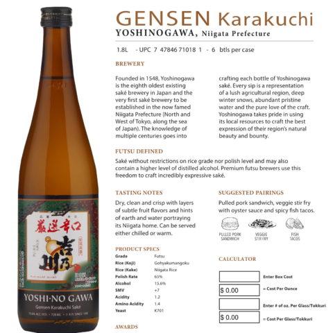 Yoshinogawa Gensen Karakuchi Saké 1.8L Calculation sheet
