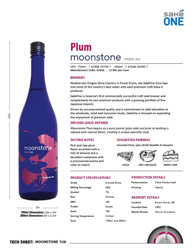 Moonstone Plum 750ml and 300ml bottle Tech Sheet