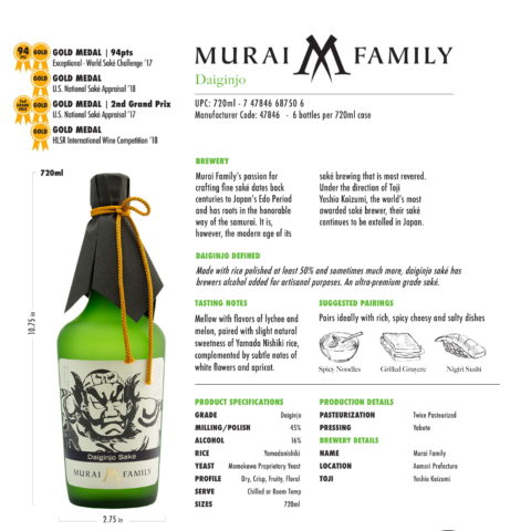 Murai Family Daiginjo 750ml Tech Sheet