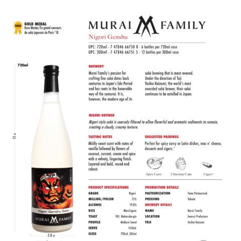 Murai Family Nigori Genshu 720ml and 300ml bottle Tech Sheet