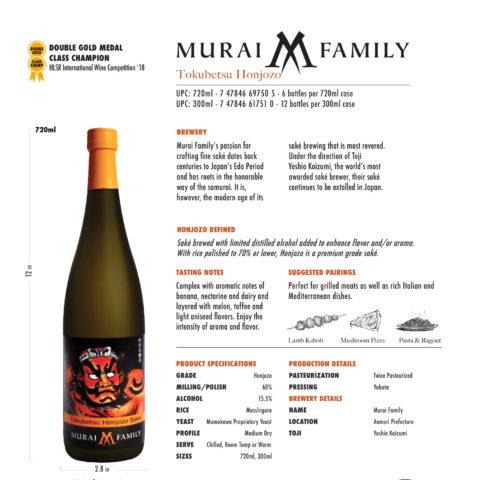 Murai Family Tokubetsu Honjozo 720ml and 300ml bottle tech sheet