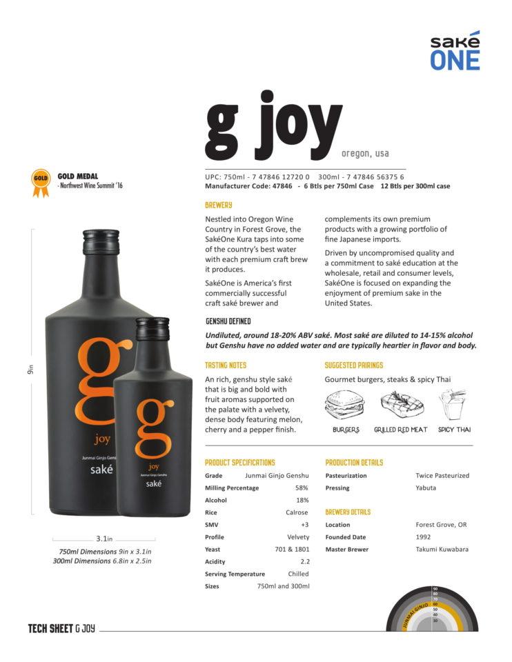 g joy 750ml and 300ml Tech Sheet
