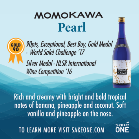 Momokawa Pearl graphic with awards and flavor notes