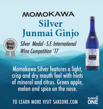 Momokawa Silver Junmai Ginjo graphic with product details