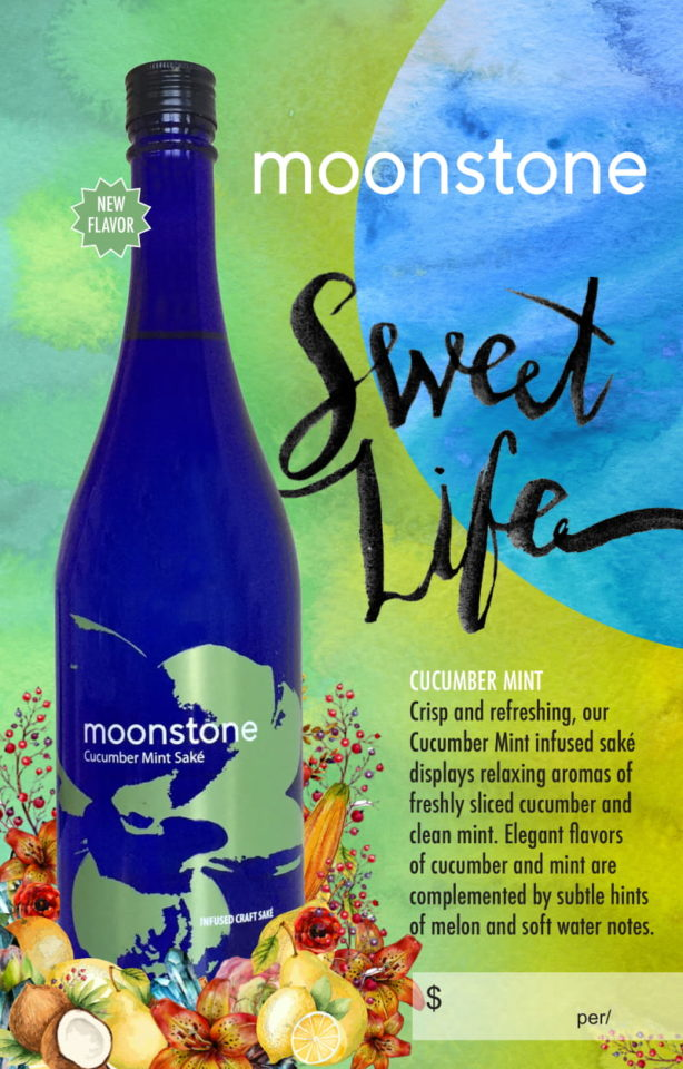 Moonstone Cucumber Mint Saké graphic with product description
