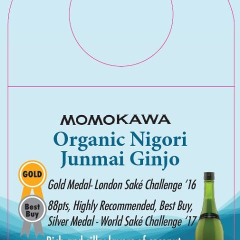 Momokawa Organic Nigori Junmai Ginjo Shelf Talker with awards and description