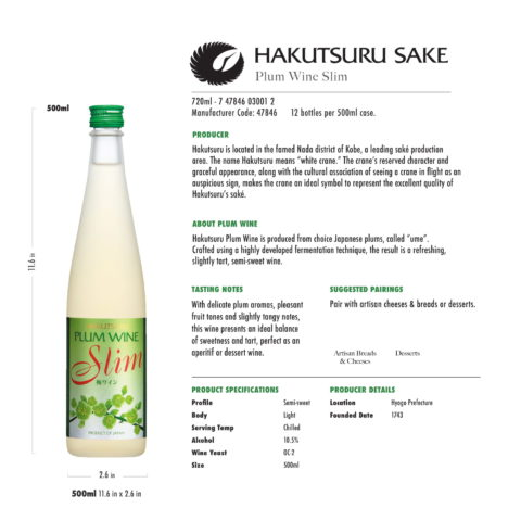 Hakutsuru Plum Wine Slim 500ml Tech Sheet