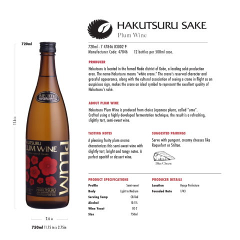 Hakutsuru Saké Plum Wine 720ml Tech Sheet