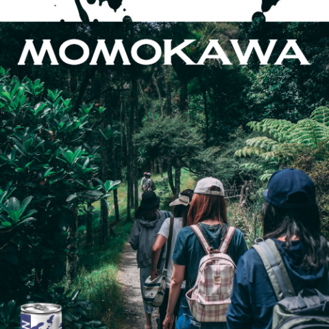 Momokawa Junmai Ginjo Craft Saké can poster with people on a hike