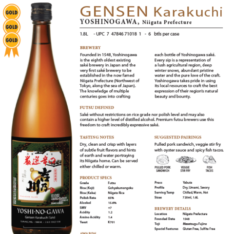 Yoshinogawa Gensen Karakuchi 1.8L Tech Sheet