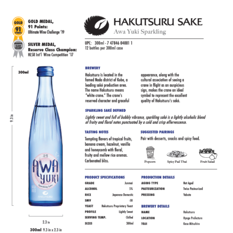 300ml Hakutsuru's blue Awa Yuki bottle tech sheet