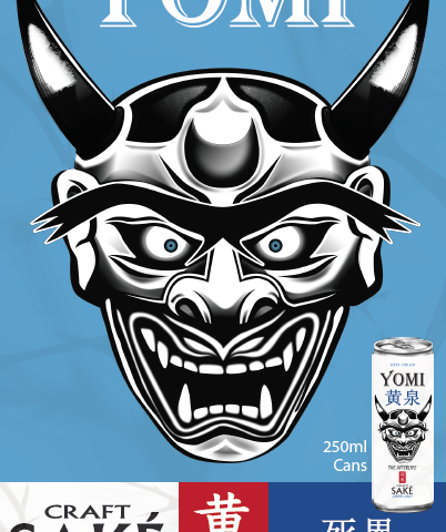 Yomi poster with Yomi logo and image of 250ml can