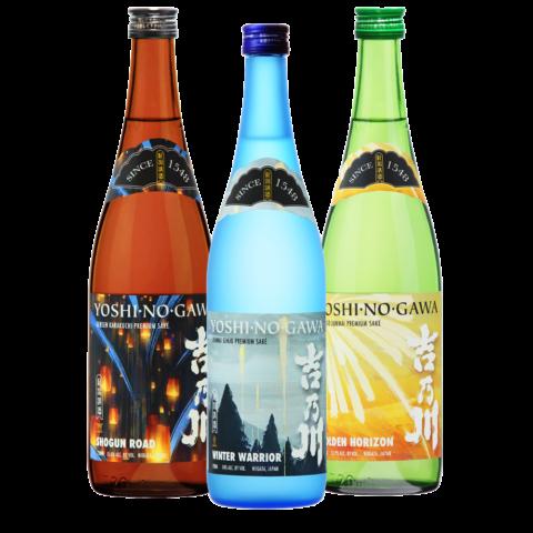 Yoshinogawa Shogun Road, Winter Warrior and Golden Horizon bottles