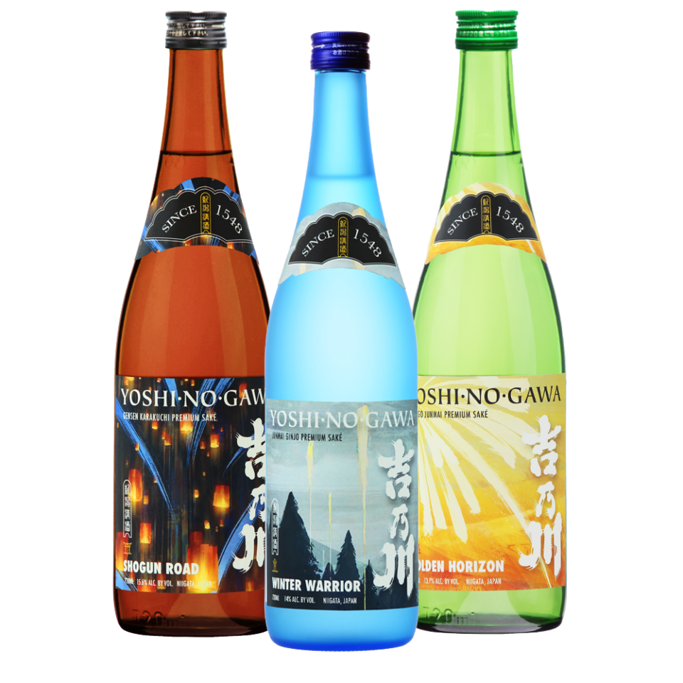 Yoshinogawa Shogun Road, Winter Warrior and Golden Horizon bottles
