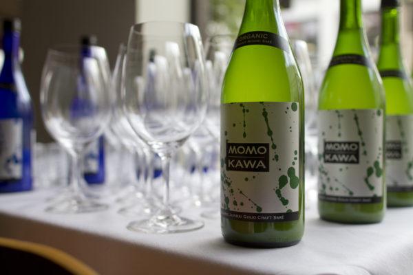 Momokawa Organic Junmai Ginjo on a tasting table