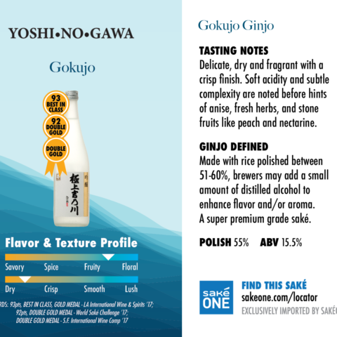 Yoshinogawa Gokujo fruity flavor and dry profile graphic