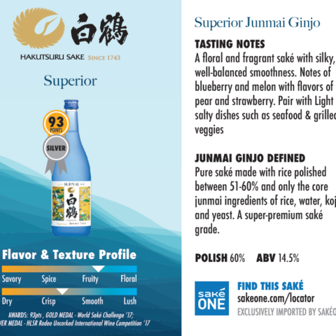 Hakutsuru Saké Superior fruity flavor and crisp profile graphic