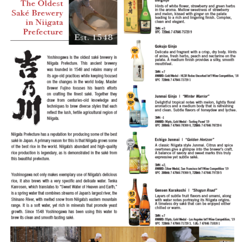 Yoshinogawa Brand sheet with 5 saké bottles