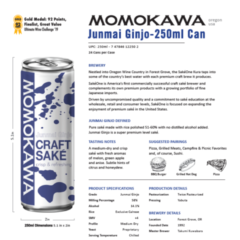 Momokawa Junmai Ginjo 250ml Can Tech Sheet