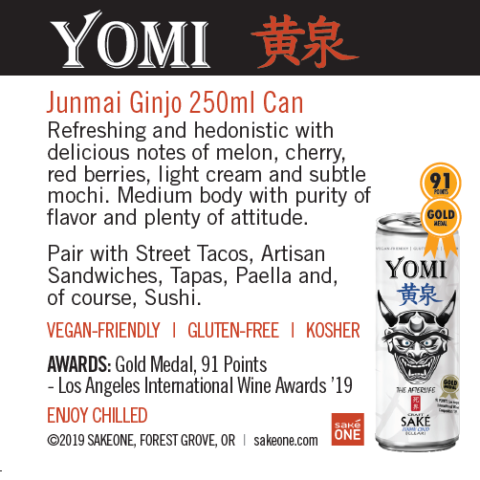 Yomi Junmai Ginjo 250ml can sheet with flavor notes and awards