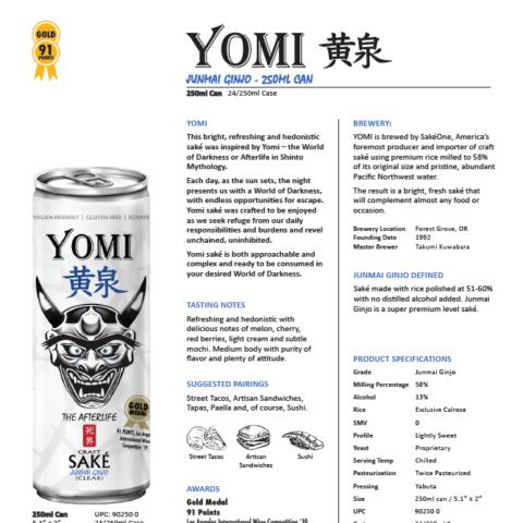 Yomi's Junmai Ginjo 250ml can tech sheet