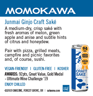 Momokawa Junmai Ginjo Craft Saké can sheet with flavor notes and awards