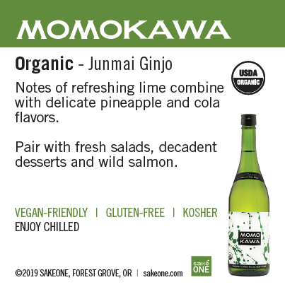 Momokawa Organic Junmai sheet with flavor notes and awards
