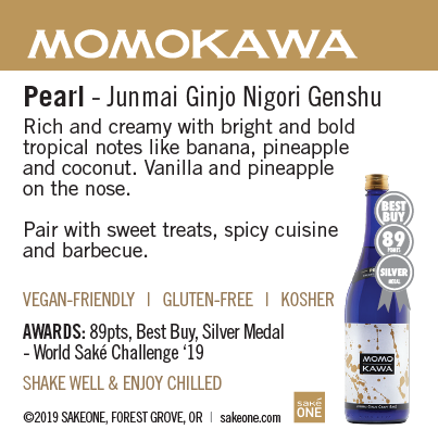 Momokawa Pearl sheet with flavor notes and awards