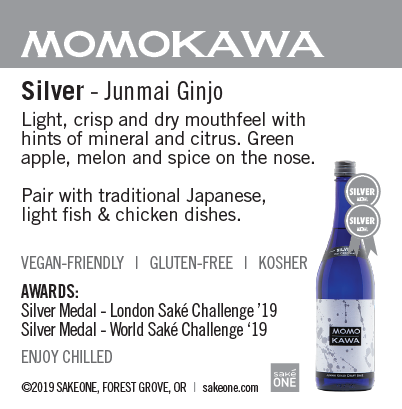 Momokawa Silver sheet with flavor notes and awards