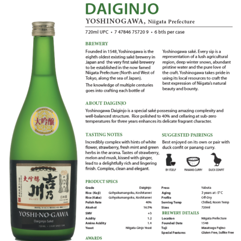 Yoshinogawa Daiginjo Technical Sheet with brewery description, pairings, tasting notes and product specifics