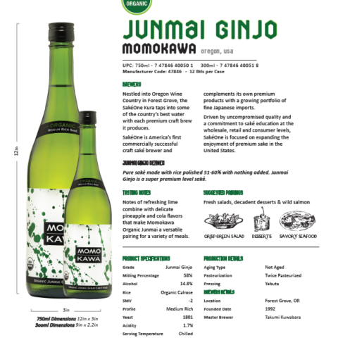 Momokawa Organic Junmai Technical Sheet with pairings, flavor notes, and brewery descriptions