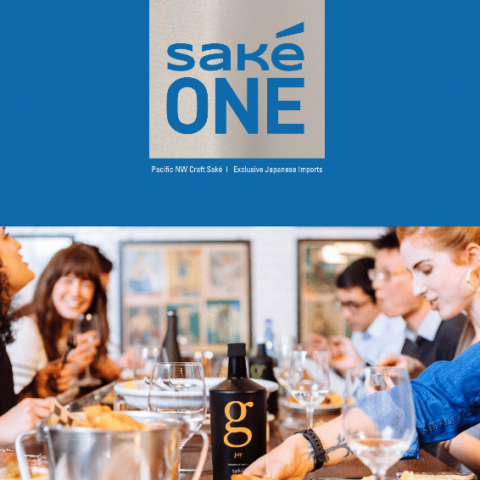 SakeOne Story Portfolio Exclusive cover with an image of G Joy and people enjoying chicken